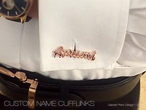 Custom Name Cufflinks - Avrumi in 14k Rose Gold Plated Brass