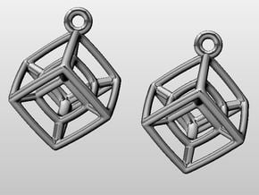 Tesseract Ears in Fine Detail Polished Silver