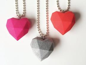 Heart Facet Pendant in Red Processed Versatile Plastic