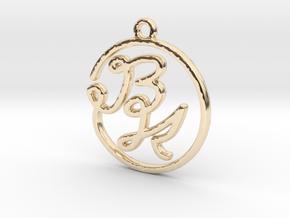 B & K Monogram Pendant in 14k Gold Plated Brass