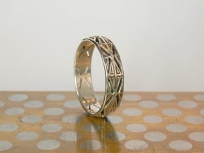 Cut Facets Ring Sz. 9 in Polished Silver