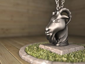 Goat(Pendant) in Polished Silver