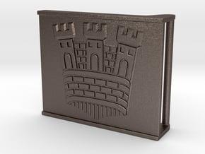 Castle belt buckle 3,7 cm in Polished Bronzed Silver Steel
