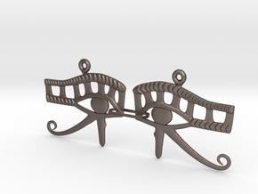 Eye Of Horus EarRings - Pair - Metal in Polished Bronzed Silver Steel