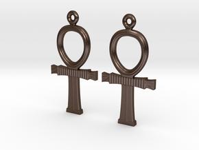 Ankh EarRings - Pair - Metal in Polished Bronze Steel