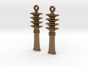 Djed EarRings - Pair - Metal in Polished Bronze