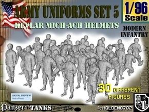 1-96 Army Modern Uniforms Set5 in Smooth Fine Detail Plastic