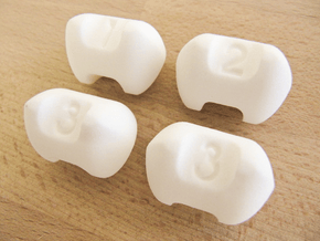 Three sided dice - Set of 4 in White Processed Versatile Plastic