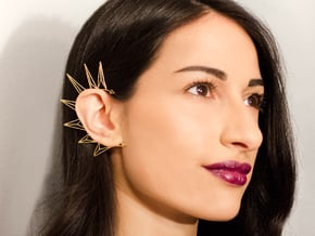 Brass triangles earcuff in Natural Brass