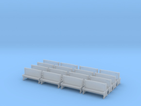 Bench type A - H0 ( 1:87 scale )16 Pcs set  in Smooth Fine Detail Plastic