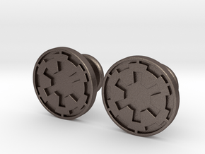 Imperial Cufflinks in Polished Bronzed Silver Steel