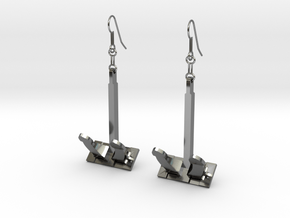Anchor earrings in Fine Detail Polished Silver