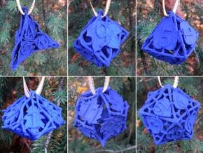 Botanical Dice Ornament Set in Blue Processed Versatile Plastic