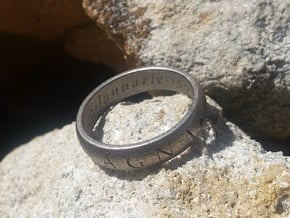 Size 13.5 Sir Francis Drake, Sic Parvis Magna Ring in Polished Nickel Steel