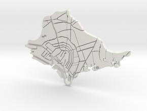 Amsterdam Map in White Natural Versatile Plastic