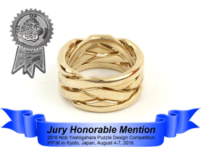 WOW5 Puzzle Ring in Polished Brass (Interlocking Parts): 6 / 51.5