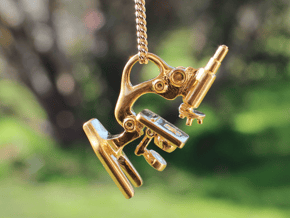 Microscope Pendant in Polished Brass