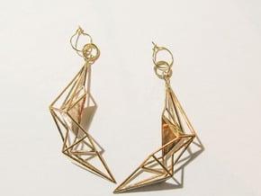 Earring_Sankaku in Polished Bronze