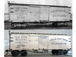 """NYC&HR 35' Boxcar with 24"""" Running Board in Smooth Fine Detail Plastic"""