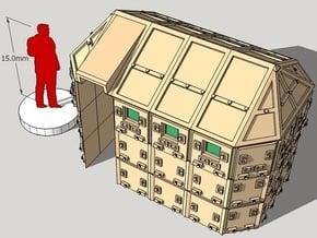 15mm Modern/Sci-Fi Armored Guard House in White Natural Versatile Plastic