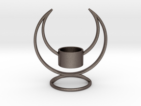 Solstice Candle Holder  in Polished Bronzed Silver Steel