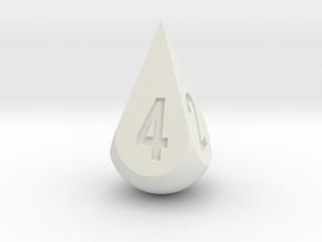 Teardrop Dice in White Natural Versatile Plastic: d4