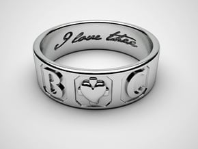 B And C Ring size 7 in Polished Silver
