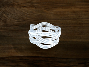 Turk's Head Knot Ring 4 Part X 4 Bight - Size 9 in White Natural Versatile Plastic
