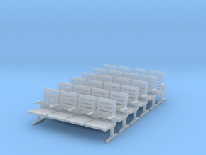 Modern Seat X 6 - N Scale in Smooth Fine Detail Plastic