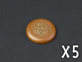 20mm Round Lipped Bases - Baked Earth in Smooth Fine Detail Plastic
