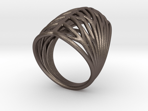 Echo.E ring in Polished Bronzed Silver Steel