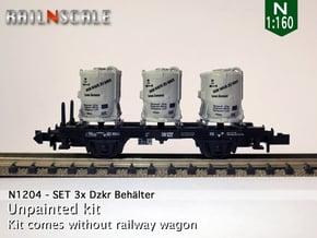 SET 3x Dzkr 501 Behälter (FLM/MTX) (N 1:160) in Smooth Fine Detail Plastic
