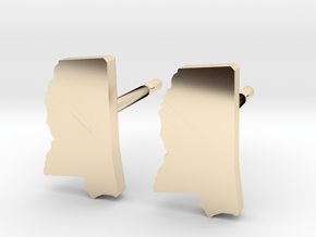 Mississippi State Earrings, post style in 14k Gold Plated Brass