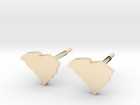 South Carolina State Earrings, post style in 14k Gold Plated Brass