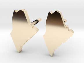 Maine State Earrings, post style in 14k Gold Plated Brass