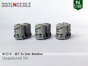 SET 3x Dzkr 501 Behälter (Roco) (N 1:160) in Smooth Fine Detail Plastic