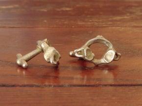Atlas Vertebra (C1) Cufflinks in Polished Bronzed Silver Steel
