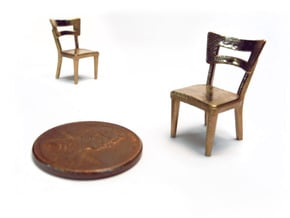 Pair of 1:48 Dog Bone Chairs in Natural Bronze