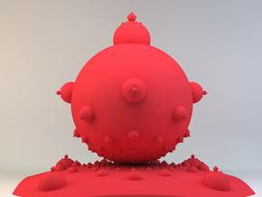 Mandelbulb in Red Processed Versatile Plastic