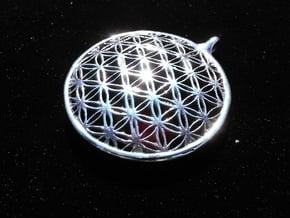 Sacred Flower Pendant  in Fine Detail Polished Silver