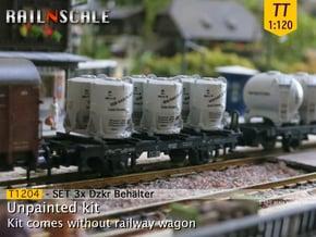 SET 3x Dzkr 501 Behälter (Tillig) (TT 1:120) in Smooth Fine Detail Plastic