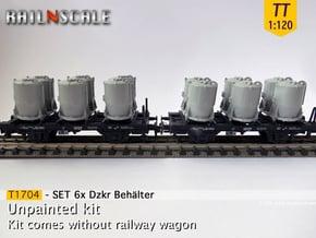 SET 6x Dzkr 501 Behälter (Tillig) (TT 1:120) in Smooth Fine Detail Plastic