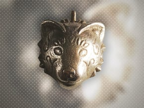 Red Panda Pendant in Polished Bronzed Silver Steel