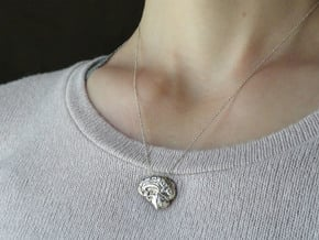 Anatomical Brain Pendant in Polished Silver