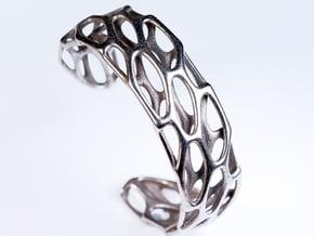 Porous Cuff in Polished Bronzed Silver Steel: Medium
