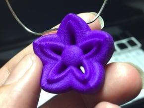 Kanzashi Pendant in Purple Processed Versatile Plastic