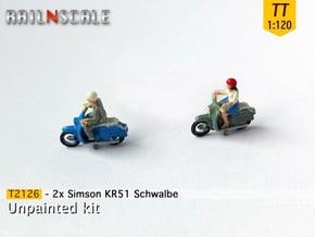 2x Simson KR51 Schwalbe (TT1:120) in Smooth Fine Detail Plastic