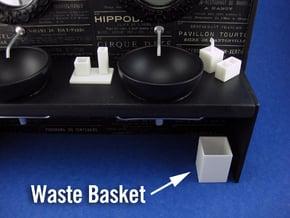 Bath Wastebin 1:12 scale in White Processed Versatile Plastic