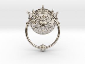 Labyrinth Door Knocker Pendant in Rhodium Plated Brass