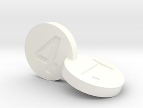 Merged Dice in White Processed Versatile Plastic: d4